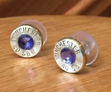 Winchester 40 Caliber Brass Bullet Casing Stud Earrings W/ Purple Crystals