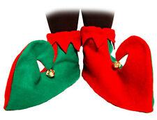 Nuevo Rojo Y Verde Elfo Bufón Botas Zapatos Con Campanas de Navidad Elaborado Vestido Disfraz