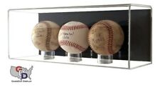 ACRYLIC THREE 3 Triple MLB BASEBALL DISPLAY case Wall Mounting UV Protecting A