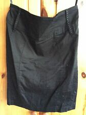 Woman's Black Fitted Skirt Decorative Gems On Front Papaya 12