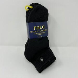 Polo Ralph Lauren Mens 6-Pack Socks BLACK Quarter Classic Sport