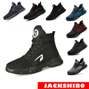 JACKSHIBO Safety Shoes Steel Toe Work Boots Construction Puncture Outdoor Shoes