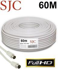 Cable Coaxial de Antena para TV TDT SAT 60mts Metros Macho y Hembra RG6U 75 OHM