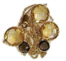 """Citrine & Smoky Topaz 17"""" Necklace 14k Yellow Gold Chain with Lobster Lock"""