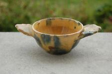 Ancien mini bol en terre cuite vernissée à oreille