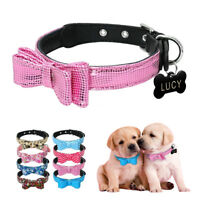 Personalized Cat Dog Collar & Engraved Dog Tag Multi Style Padded Bowknot Collar