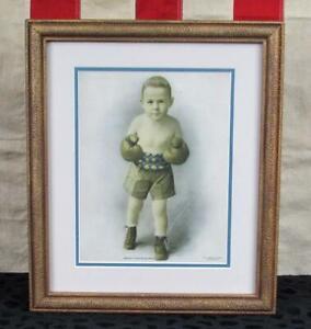 Vintage 1920s Boxing Boy Art Print Ready For Business American Art Works Framed