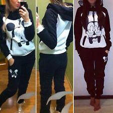 2PCS Womens Mickey Minnie Hoodies Sweatshirt Top Pants Set Sports Wear Tracksuit