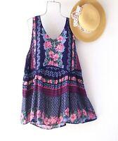 New~$59~Blue Rose Floral Crochet Lace Peasant Blouse Tank Boho Plus Size Top~1X