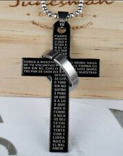 LARGE BLACK SILVER CROSS RING ON CHAIN LORDS PRAYER BIBLE PENDANT NECKLACE UK