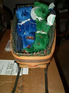 Longaberger Sleigh Basket with liner and protector +3 bean bag Xmas