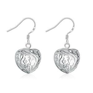 925 Sterling Silver Filigree Heart Earrings Dangle Shiny Love UK Seller