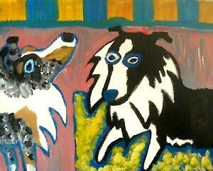 SHELTIE Abstract Pop Art Print 11x14 Dog Shetland Sheepdog Collectible Signed