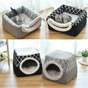 2in1 Pet Bed for Cat Dog Nest Puppy Soft Mat Winter Warm Cave Sleeping House