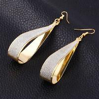 Korean Womens Gold Silver Earrings Crystal Scrub Water Drop Hoop Party Jewelry