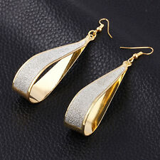 Fashion Women Gold Silver Crystal  Scrub Water Drop Hoop Party Earrings Jewelry