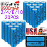 2/4/8/10/20PC 18650 Battery 3.7V 9900mAh Rechargeable Li-ion Batteries & charger