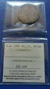 1890 GREAT BRITAIN Double Florin Silver Coin Queen Victoria ICCS VF-20