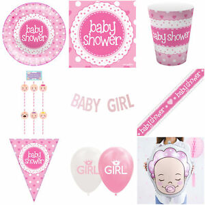 Baby Shower Pink Girl Decorations Tableware Plates Napkins Balloons Bunting