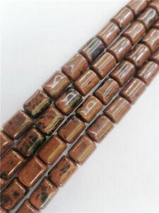 "2Strand 14x10mm Palm Mahogany Obsidian Cylinder Loose Beads DIY 15.5"" EE1393"
