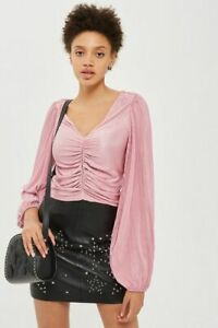 Ladies Ex Topshop Ruched Front Blouson Top Sizes 6-16 RRP £29