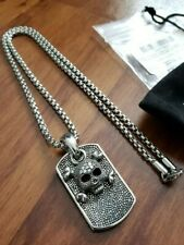 Skull Box Link Chain Necklace $180 New Blackjack Mens Stainless Steel Thick