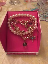 $35 Betsey Johnson Rose Gold Tone Dragon fly  Pearl Charm Bracelet #13