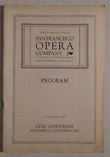 Sf Opera Company rare program Sf Civic Sept/Oct 1926 merola