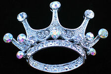 SILVER TONE AB CLEAR RHINESTONE PRINCESS CROWN BEAUTY PAGEANT TIARA PIN BROOCH 2