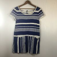 Anthropologie Saturday Sunday Blue and White Striped Tunic Top With Pockets XS
