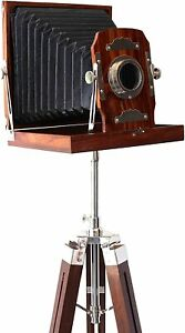 90s Century Marine Antique Wooden Camera w/ wooden Tripod Stand Decor Gifts Item