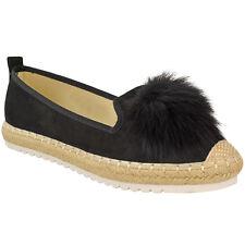 Womens Ladies Girls Flat Peep Toe Pom Pom Espadrilles Pumps Sandals Shoes Size