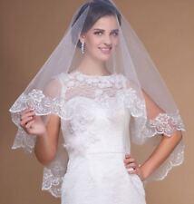 1 voile court dentelle mariage IVOIRE -  LIVRAISON DE SUITE