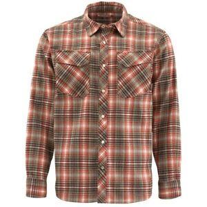New SIMMS Men's Gallatin Flannel Long Sleeve Shirt Simms Orange Plaid Size 2XL