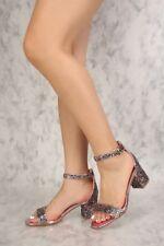 New Encrusted Glitter Open Toe Ankle Strap Mini Chunky Med High Heel Pump Sandal