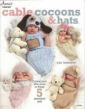 Cable Cocoons & Hats Crochet Patterns Newborn Baby 0-3 Girls & Boys Puppy+  NEW