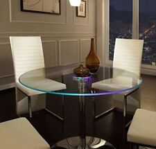 Round Pedestal Dining Tables For Small Spaces LED Glass Top Modern Kitchen New