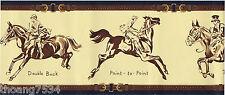 RALPH LAUREN Aston Camel Equestrian Horses Jockey Leather Belt Wall paper Border