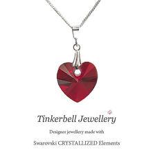 925 S Silver Necklace Chain w Swarovski Siam Love Red Crystal Heart Pendant