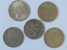 1922 Silver Peace Dollar - 5 Coins Circulated Minted in Denver and Philadelphia