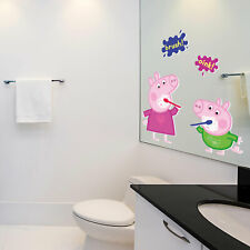 Peppa and George brushing teeth wall sticker   Official Peppa Pig range