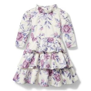 Janie & Jack Girl's Cream & Sugar Purple Floral Tiered Dress NWT Various Sizes