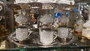 Handmade Turkish Arabic GREEK 6 TEA Cup Saucer Set (colored )+ tray +Lokum stand