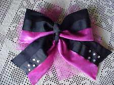 Lot of 13 Girls Hair Bows Pony Tail Elastic BK Cerise Beads Ribbon Netting Large