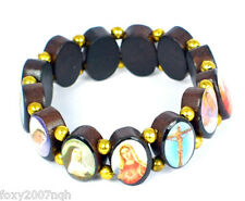Elasticated Wooden Beaded Bracelet With Assorted Religious Pictures Colour Image