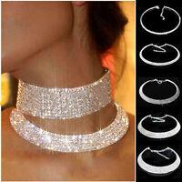 New Women Silver Crystal Diamante Rhinestone Necklace Wedding Party Choker Chain