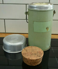 Vintage 1920s 30s 40s food soup THERMOS flask cork stopper and bowl lid green