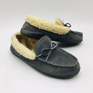 Clarks Suede Women's Slipper with Faux Shearling Size 10 Grey