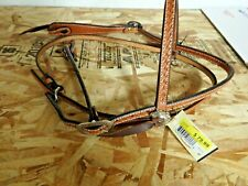 "Court Saddlery Leather  Headstall Cowboy Basket weave NEW 5/8"" USA"