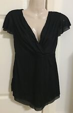 Pumpkin Patch maternity mesh cross-over top NWT - black 'belly basics' - size XS